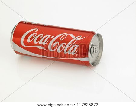Kuala Lumpur Malaysia Jan 18th 2016,coca cola red classic can on the white background