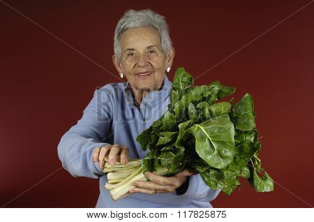 Senior Woman With some Chard