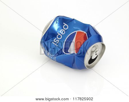 Kuala Lumpur Malaysia Jan 18th 2016,crashed pepsi blue aluminum can on the white background