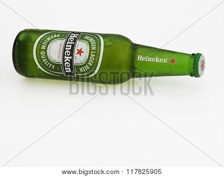 Kuala Lumpur Malaysia Jan 18th 2016,Heineken beer on the white background