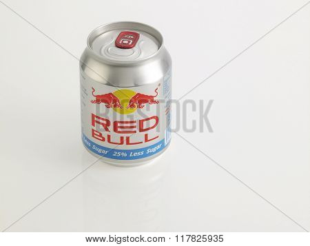 Kuala Lumpur Malaysia Jan 18th 2016,red bull silver aluminum can on the white background