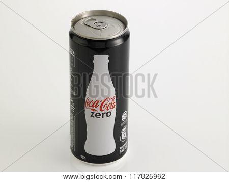 Kuala Lumpur Malaysia Jan 18th 2016,coca cola zero black can on the white background