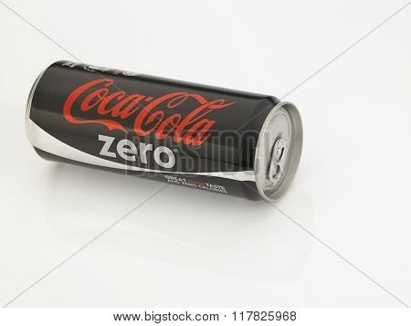 Kuala Lumpur Malaysia Jan 18th 2016,coca cola zero black can on the white background