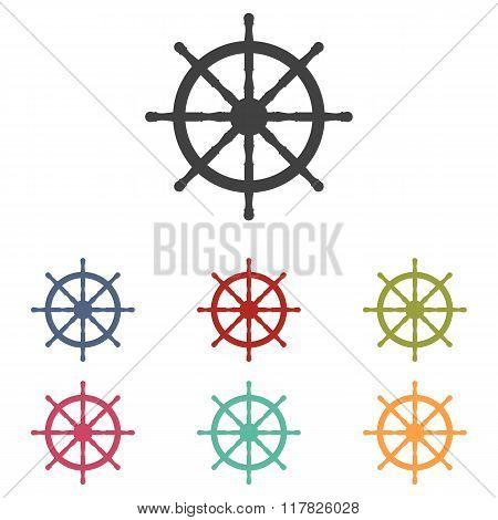 Ship wheel icons set