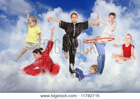 Sport Children On White Clouds Collage