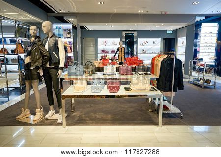 HONG KONG - JANUARY 27, 2016: inside of Coach store at Elements Shopping Mall. Coach, Inc. is an American luxury fashion company based in New York City