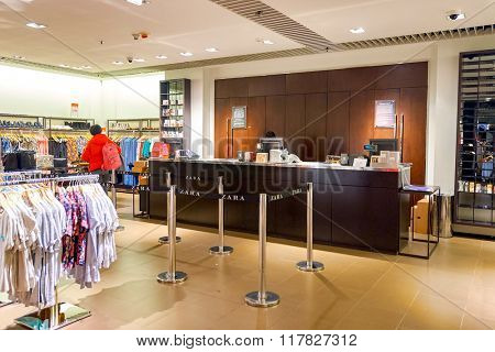 HONG KONG - JANUARY 27, 2016: inside of Zara store at Elements Shopping Mall. Elements is a large shopping mall located on 1 Austin Road West, Tsim Sha Tsui, Kowloon, Hong Kong