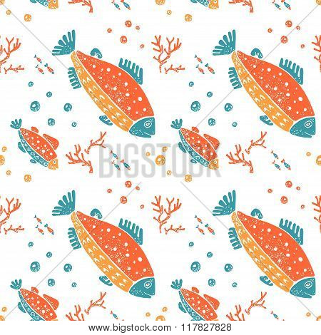 Seamless pattern in naive lino style, trout