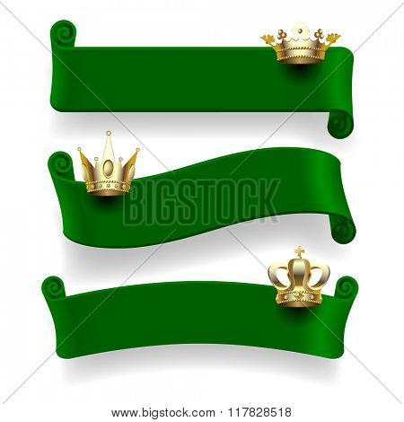Set of green ribbons with gold crowns isolated on white background. Contains the Clipping Path