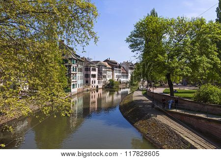 Water Canal In Petite France Area In Strasbourg City, France