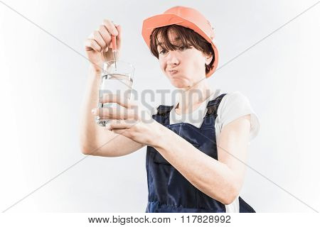 Worker With Water Glass