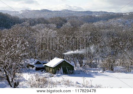 Winter  rural house