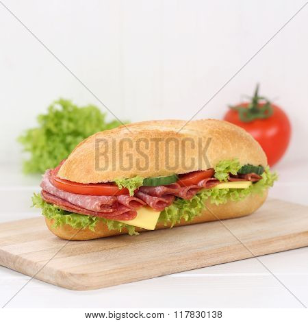 Healthy Eating Sub Deli Sandwich Baguette With Salami Ham For Breakfast