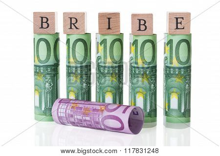 Bribe Blocks Arranged On Rolled Euro Notes