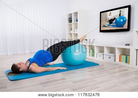 Young Pregnant Female Doing Workout