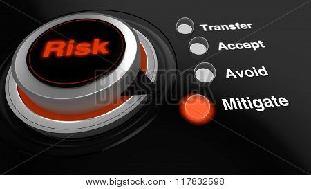 Rotary Knob With The Word Risk In Red Turned To Mitigate