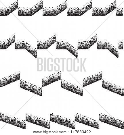 Lines Mix Stipple Effect Raster Illustration