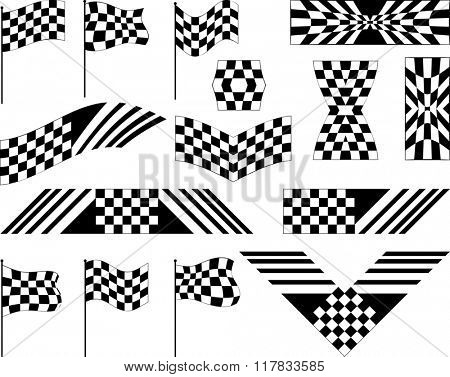 Race Flag Set Various Designs, Vinyl Ready Raster Illustration