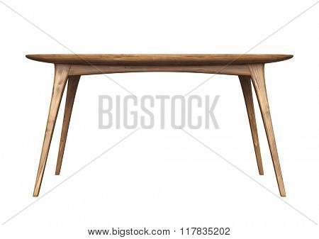 Wooden table isolated on white background.