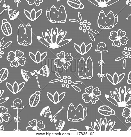 Seamless pattern with hand drawn doodle elements