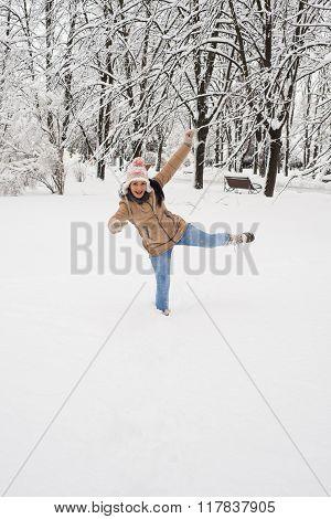 Happy Woman Having Fun In The Snow