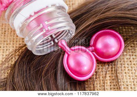Hair Vitamin Serum Capsule With Damaged Hair.