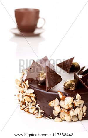 chocolate cake, isolated on a white background