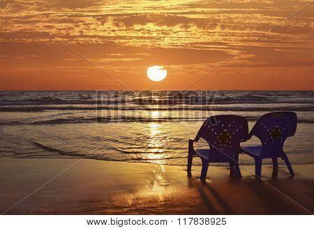 Romantic Sunset On The Mediterranean Sea
