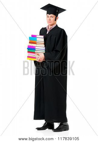 Graduate guy student in mantle with books, isolated on white background