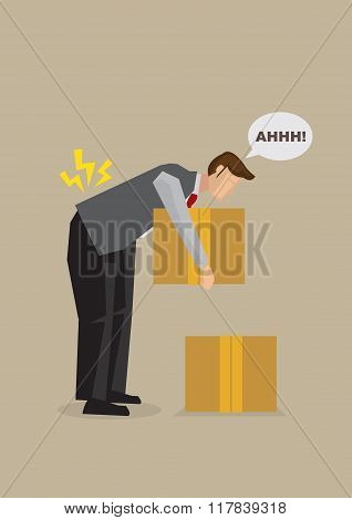 Back Injury From Bending Over Cartoon Vector Illustration