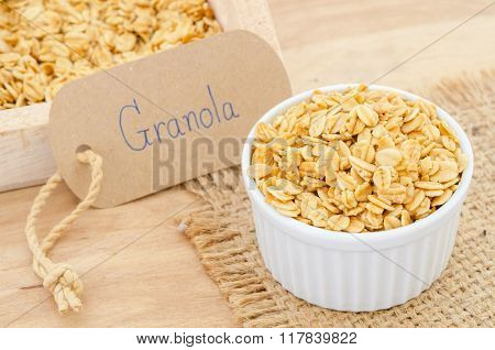 Oatmeal Granola In White Cup.