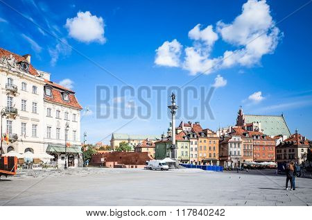 Street view of Central part of Warsaw, capital of Poland