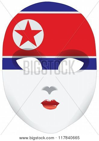 Stylized Mask With North Korea Flag Bandanna