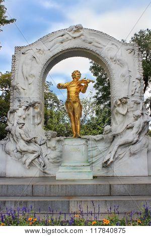 Gilded Bronze Monument Of Johann Strauss In Stadtpark In Vienna