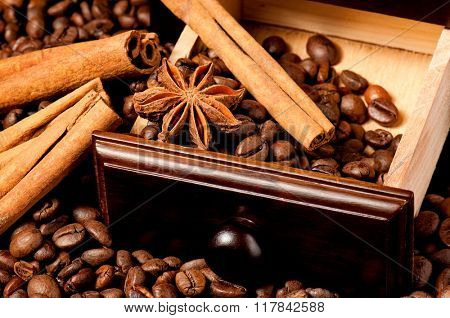 Anise stars and cinnamon on roasted coffee beans
