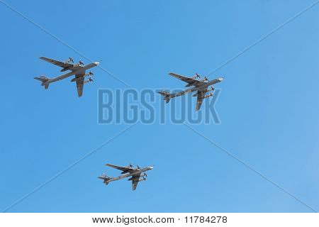 Tu-95Ms Planes On Parade In Honor Of Great Patriotic War Victory