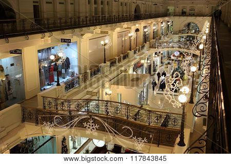 RUSSIA, MOSCOW - 03 JAN, 2015: Christmas decor of hall in a Petrovsky Passage.