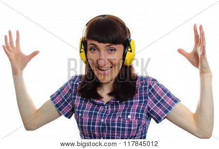 Shocked Woman Wearing Protective Headphones