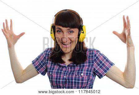 Shocked Woman Wearing Protective Headphones