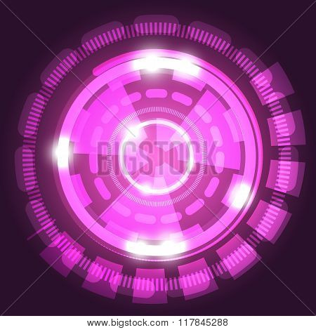 Abstract Technology Pink Background With Circles