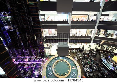 Big Mall With Four Floors, Fountain And Lifts, Black And White Modern Interior