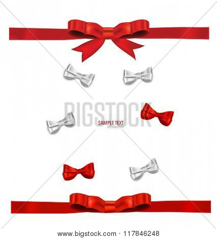 Shiny red ribbon on white background. Vector illustration.