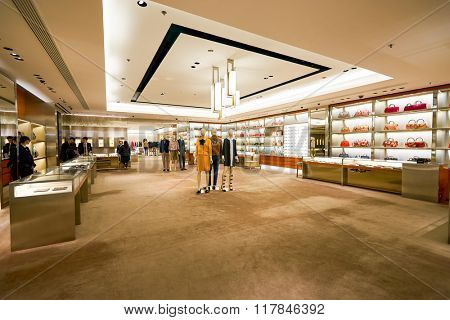 HONG KONG - JANUARY 27, 2016: interior of Gucci store at Elements Shopping Mall. Gucci is a luxury Italian fashion and leather goods brand, part of the Gucci Group