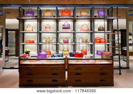 HONG KONG - JANUARY 27, 2016: inside of Bottega Veneta store at Elements Shopping Mall. Elements is a large shopping mall located on 1 Austin Road West, Tsim Sha Tsui, Kowloon, Hong Kong