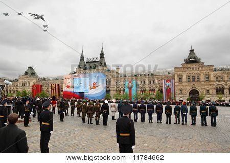 Soldiers Participate In Rehearsal In Honor Of Great Patriotic War Victory