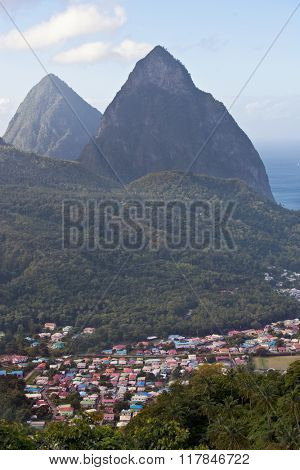The colorful town of Soufriere is nestled at the base of the Pitons in St. Lucia