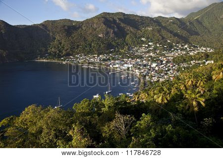 The historic city of Soufriere sits at the base of the Pitons in St. Lucia.