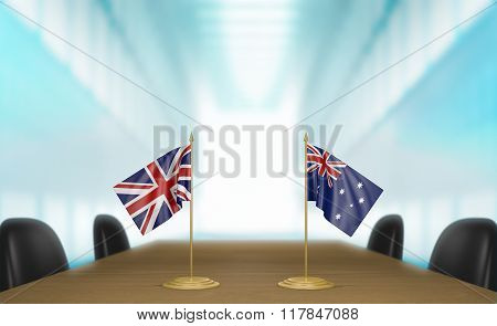 United Kingdom and Australia relations and trade deal talks 3D rendering
