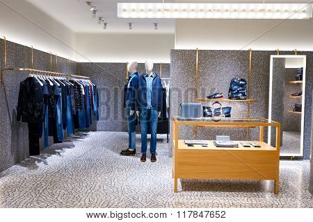HONG KONG - JANUARY 27, 2016: inside of Valentino store at Elements Shopping Mall. Elements is a large shopping mall located on 1 Austin Road West, Tsim Sha Tsui, Kowloon, Hong Kong