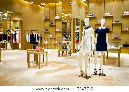 HONG KONG - JANUARY 27, 2016: interior of Miu Miu store at Elements Shopping Mall. Miu Miu is an Italian high fashion women's clothing and accessory brand and a subsidiary of Prada.
